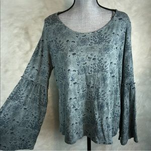 Lucky Brand Bell Sleeve Shirt Top NO TAG L XL